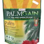 PALMGAIN® Palms, ferns, cycads, ixora, and ornamental plants need ample amounts of nitrogen, potassium, magnesium, iron, sulfur, and other micronutrients to produce lush green growth and vibrant colors. PalmGain 8-2-12 is the easy way to ensure palm plants & palm trees have these meaningful elements